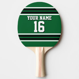 Forest Green Black Team Jersey Custom Number Name Ping Pong Paddle