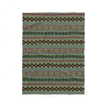 Forest Green Boho Aztec Pattern Fleece Blanket