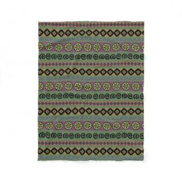 Aztec Themed Forest Green Boho Aztec Pattern Fleece Blanket