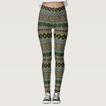 Aztec Themed Forest Green Boho Aztec Tribal Pattern Leggings