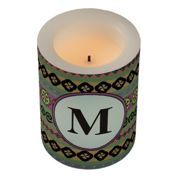 Forest Green Boho Modern Aztec Pattern Monogram Flameless Candle