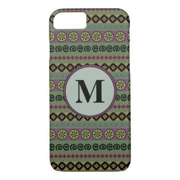 Aztec Themed Forest Green Boho Modern Aztec Pattern Monogram iPhone 7 Case