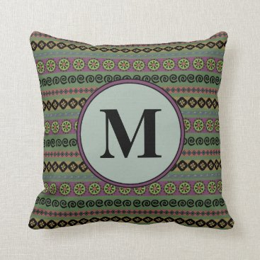 Forest Green Boho Modern Aztec Pattern Monogram Throw Pillow