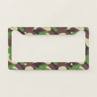Forest Green Brown Camouflage. Camo your License Plate Frame