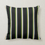 [ Thumbnail: Forest Green, Brown, Light Cyan, and Black Lines Throw Pillow ]