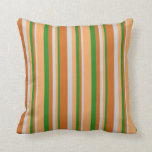 [ Thumbnail: Forest Green, Brown, Light Grey, and Chocolate Throw Pillow ]