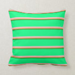 [ Thumbnail: Forest Green, Brown, Pink & Green Pattern Pillow ]