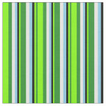 [ Thumbnail: Forest Green, Chartreuse, Black, Sky Blue & White Fabric ]