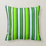 [ Thumbnail: Forest Green, Chartreuse, Black, Sky Blue & White Throw Pillow ]