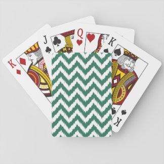 Forest Green Chevron Ikat Pattern Poker Deck