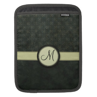 Forest Green Coin Pattern with Monogram iPad Sleeve