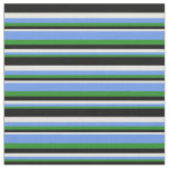 [ Thumbnail: Forest Green, Cornflower Blue, Beige & Black Fabric ]