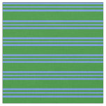 [ Thumbnail: Forest Green & Cornflower Blue Stripes Fabric ]