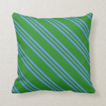 [ Thumbnail: Forest Green & Cornflower Blue Stripes Pillow ]