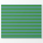 [ Thumbnail: Forest Green & Cornflower Blue Stripes Wrapping Paper ]