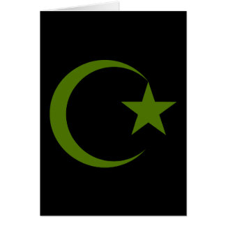 Forest Green Crescent & Star.png Greeting Card