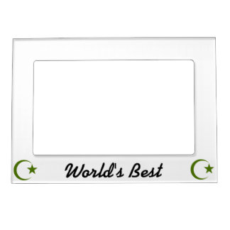 Forest Green Crescent & Star.png Magnetic Photo Frame