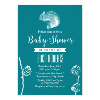 Forest Green Cute Squirrel Baby Shower Card