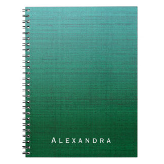 Forest Green Cyan Gradient Med Texture Custom Name Spiral Notebook