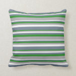 [ Thumbnail: Forest Green, Dark Gray, White, and Slate Gray Throw Pillow ]
