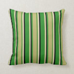 [ Thumbnail: Forest Green, Dark Khaki, Light Yellow, and Black Throw Pillow ]