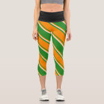 [ Thumbnail: Forest Green, Dark Orange, and Beige Stripes Leggings ]