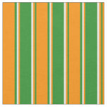 [ Thumbnail: Forest Green, Dark Orange, and Beige Stripes Fabric ]