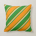 [ Thumbnail: Forest Green, Dark Orange, and Beige Stripes Throw Pillow ]