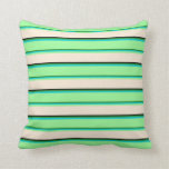 [ Thumbnail: Forest Green, Dark Turquoise, Green, Beige & Black Throw Pillow ]