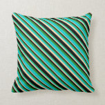 [ Thumbnail: Forest Green, Dark Turquoise, Tan, and Black Throw Pillow ]