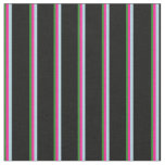 [ Thumbnail: Forest Green, Deep Pink, Light Blue & Black Lines Fabric ]