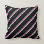 [ Thumbnail: Forest Green, Deep Pink, Light Blue & Black Lines Throw Pillow ]