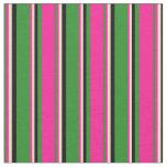 [ Thumbnail: Forest Green, Deep Pink, Tan & Black Stripes Fabric ]