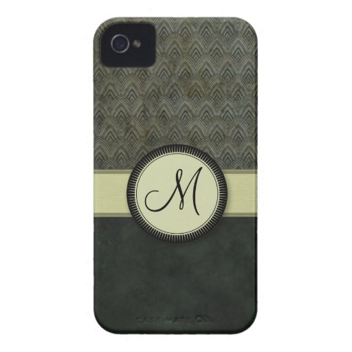 Forest Green Feather Pattern with Monogram Case-Mate iPhone 4 Cases