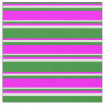 [ Thumbnail: Forest Green, Fuchsia & Light Cyan Stripes Fabric ]
