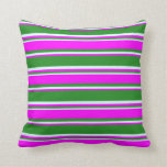 [ Thumbnail: Forest Green, Fuchsia & Light Cyan Stripes Pillow ]