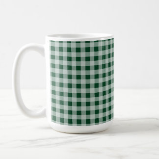 Forest Green Gingham; Checkered Classic White Coffee Mug