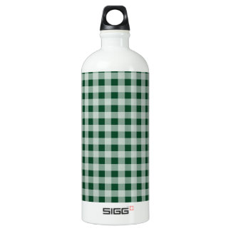 Forest Green Gingham; Checkered Water Bottle