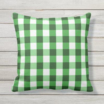 Forest Green Gingham Pattern Lumbar Pillow Zazzle Com