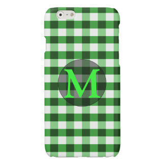 Forest Green Gingham Pattern Personalized Monogram Glossy iPhone 6 Case