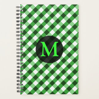 Forest Green Gingham Pattern Personalized Monogram Planner