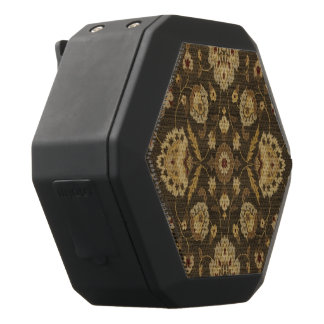 Forest green gold floral tapestry black bluetooth speaker