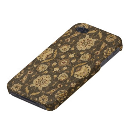 Forest green gold floral tapestry iPhone 4 case