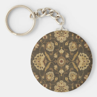 Forest green gold floral tapestry basic round button keychain