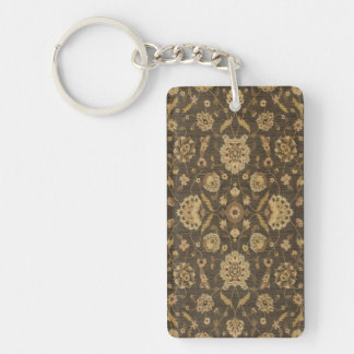 Forest green gold floral tapestry Double-Sided rectangular acrylic keychain