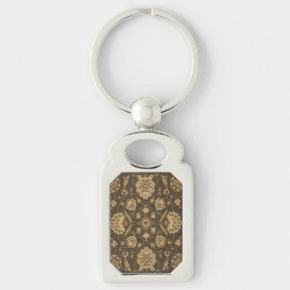 Forest green gold floral tapestry Silver-Colored rectangular metal keychain