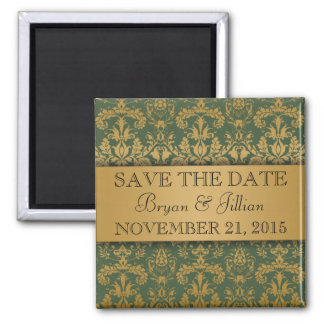 Forest Green & Gold Regal Damask Save the Date 2 Inch Square Magnet