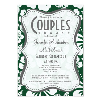 Forest Green Hawaiian Tropical Hibiscus 4.5x6.25 Paper Invitation Card