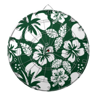 Forest Green Hawaiian Tropical Hibiscus Dart Board