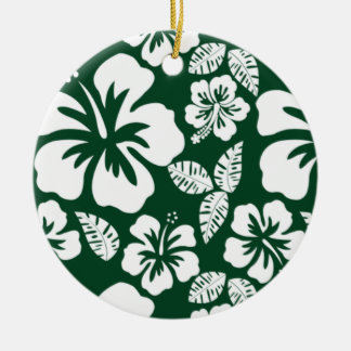 Forest Green Hawaiian Tropical Hibiscus Double-Sided Ceramic Round Christmas Ornament